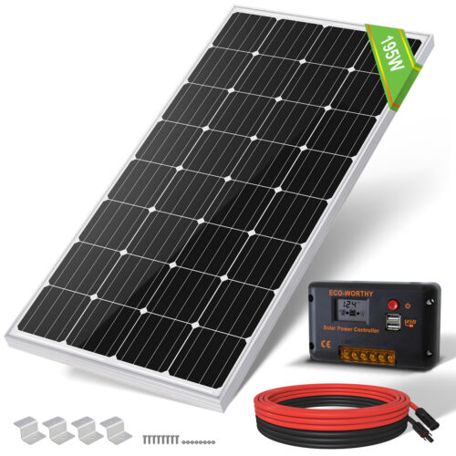 300W Watt Mono Solar Panel Kit 20A Regulator 12V Battery Charger Caravan Camping <br/> 20A PWM Controller & 5m MC4 Cable & 4 PCS Z Bracket Set