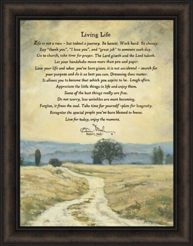 LIVING LIFE by Bonnie Mohr 22x28 FRAMED ART PICTURE Inspirational TREE of LIFE