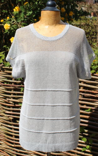 MADELEINE Silver Cotton Mix Summer Sweater Knitted T Shirt Top UK 10/12 loose