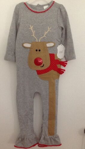 Gigil Baby Girls Gray Christmas Reindeer Romper Size 3,18 or 24 Months NEW