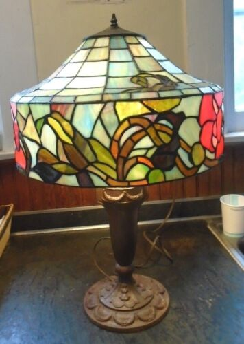 fine antique peony flower leaded stained glass lamp with cast iron base