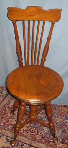 "ANTIQUE OAK PIANO/ORGAN STOOL/CHAIR 35""H TONK CHICAGO & NEW YORK SWIVEL SEAT"