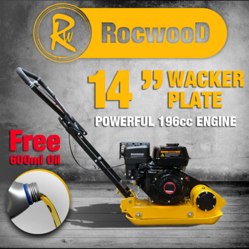 "Petrol Wacker Plate Compactor Compaction RocwooD 14"" 5.5hp 196cc Engine FREE Oil"