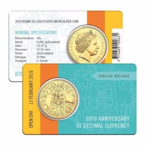 2016 Fifty Cent Open Day Gold Plated Round 50 c Anniversary Of Decimal Currency