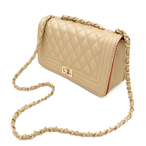Classic Women's Quilted PU Leather Elegant Turnlock Chain Shoulder Bag Clutch