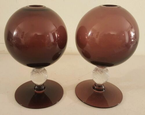Vintage Pair of Mid Century Modern Purple Amethyst Glass Round Modernist Vases