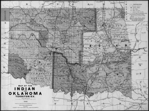 1892 OK MAP OKLAHOMA McAlester Miami Midwest City Moore Muskogee Mustang LARGE