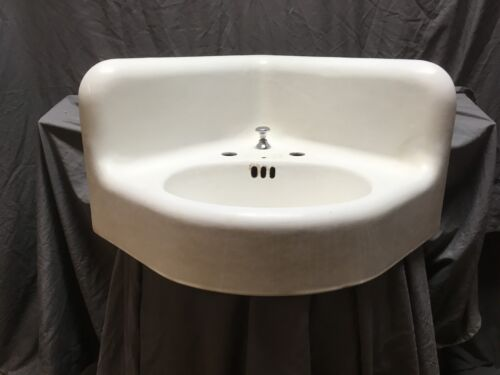 Large Antique Cast Iron White Porcelain Corner Sink Vtg Bath Kohler Old 597-18E