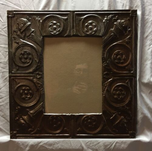 Antique TIN CEILING Metal 11X14 Picture Frame Rust Brown Recycled 385-18C