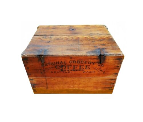 Advertising Seattle COFFEE Crate Wood Shipping Box Rare Western Antique Trunk
