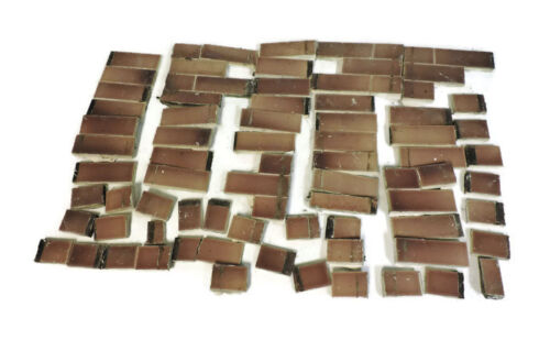 LOT OF 78 ANTIQUE FIREPLACE SURROUND TILE BROWN / RED BROWNISH RED
