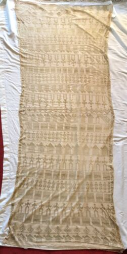 ANTIQUE LACE ASSUIT TULLE BI TELLI SHAWL TABLE SCARF DECO DESIGN CAMEL COLOR ^