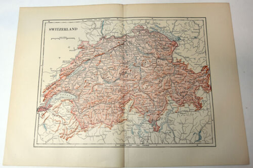 "1890s Antique ORIGINAL 15"" Map Switzerland Europe"