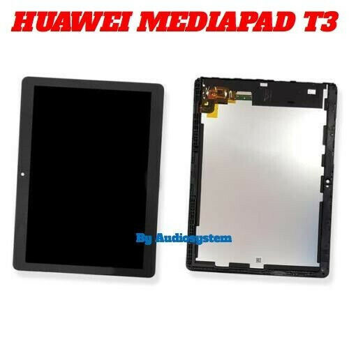 """DISPLAY LCD+TOUCH SCREEN HUAWEI MediaPad T3 10"""" AGS-L03 AGS-L09 W09 VETRO NERO"""