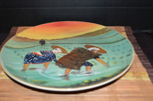 """Antique Vintage Asian Porcelain Hand Painted Working In Field 10 3/8"""""""