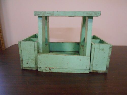 ANTIQUE VINTAGE GREEN WOODEN STOOL OR CARRIER