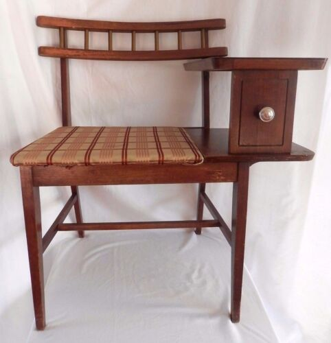 Vintage Mid Century Gossip Bench / Telephone Table Chair Desk Top / Phone Seat