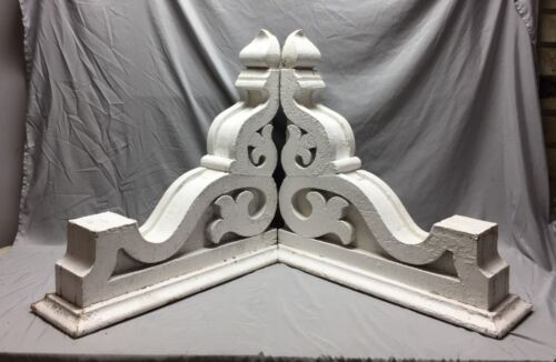 Pair Extra Large Antique White Roof Corbels Cornice Shabby Vtg Chic Old 33-19M