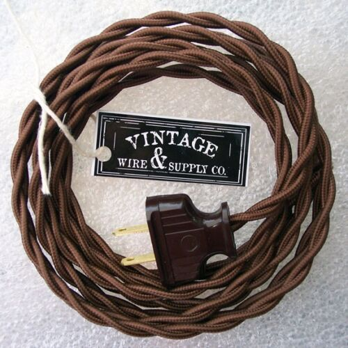 Dark Brown Cloth Covered Wire Vintage Rewire Kit Lamp Cord Fan Antique Restore