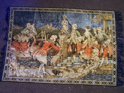 """Vintage Italian Tapestry Venice Nobility """"Moonlight Excursion"""" Italy 48"""" x 38"""""""