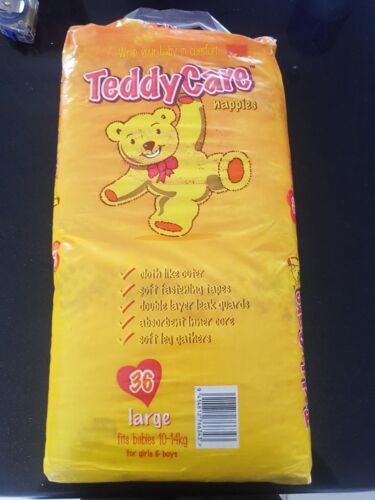 Teddy Care Nappies Large (36 Nappies) Fits Babies 10-14kg Unisex