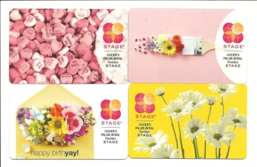 Lot of 4 Stage Peebles Goody's Gift Cards No $ Value Collectible w/ Candy Hearts