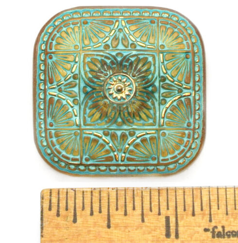 XXL 32mm Vintage Czech Glass FOCAL SQUARE Gold TURQUOISE Wash Medallion Button