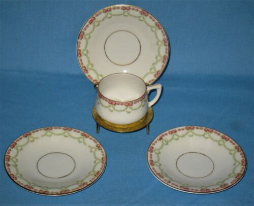VINTAGE COLLECTIBLE LOT OF1 DEMITASSE CUP& 3 SAUCERS ROSE BEEHIVE ARNART IMPORT