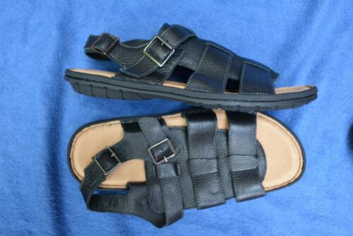 COLORADO CASUAL WEAR rrp$109.95 Quality Black Leather SANDALS Men's Size 12. NEW