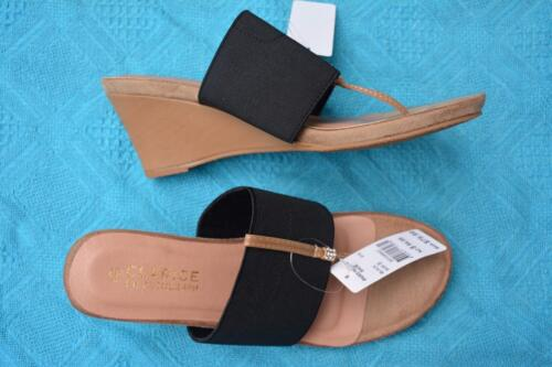 CLARICE for Autograph BLACK Paris Wedge Slip on Sandals Size 9. NEW rrp $79.99