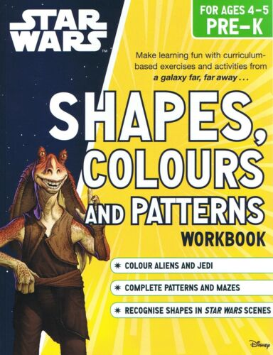 STAR WARS Shapes, Colours And Patterns Workbook Pre-K (Ages 4-5) NEW (p/b, 2015)