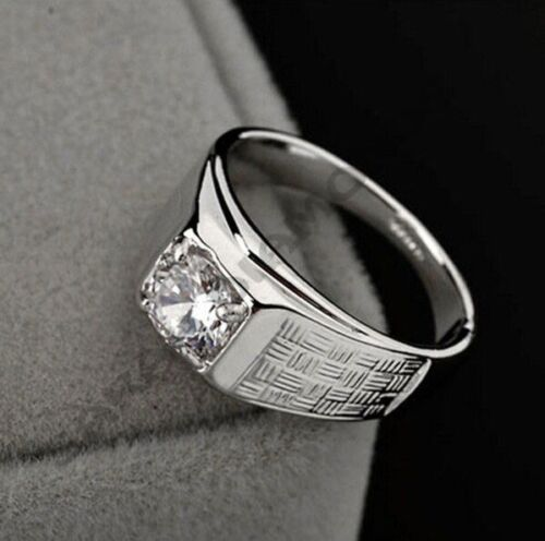 1.25CT Size 5-14 Mens Jewelry 14k White Gold Over Round D/VVS1 Diamond Band Ring