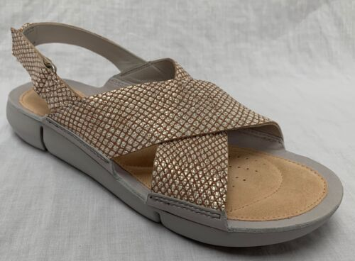 BNIB Clarks Ladies Tri Chloe Trigenic Metallic Leather Flat Sandals