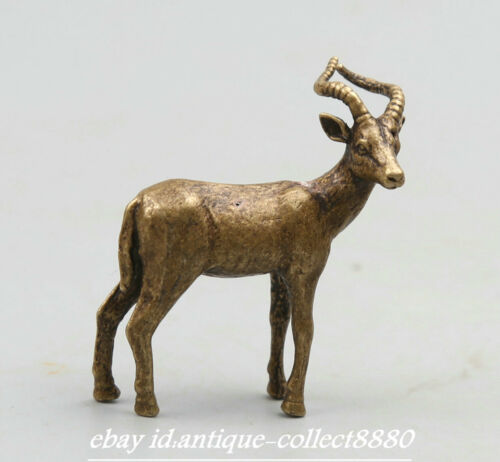 """1.7"""" Collection Chinese Fengshui Bronze Lovable Animal Lucky Small Deer Statue 鹿"""