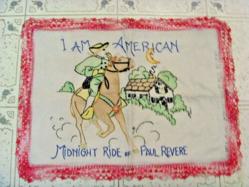 Antique Midnight rider Paul Revere tapestry embroidery needlework American 49411