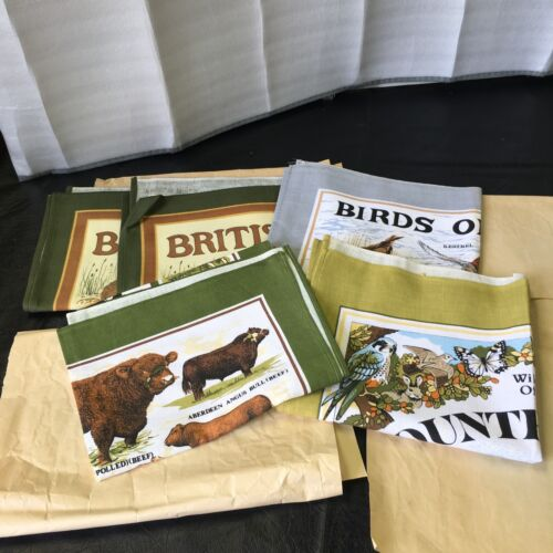 LOT OF 4 LINEN TAPESTRY MADE IN BRITAIN 30 X 18 IN WILDLIFE,BIRDS OF PREY, COW