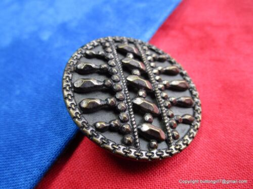 5490-A – Large Screenback 1800's Button Embellished with Faceted Steel Openwork