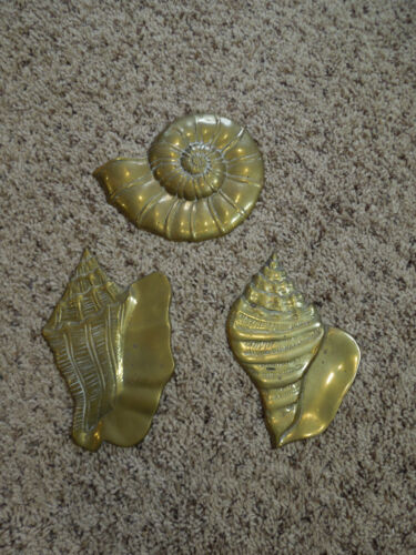 Vintage Lot of 3 Solid Brass Seashells Hanging Wall Art -1 Button, 2 Conch