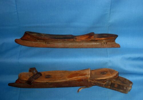 VTG/Antique Pair Wood/Metal/Iron/Leather Ice Skates Eternit!