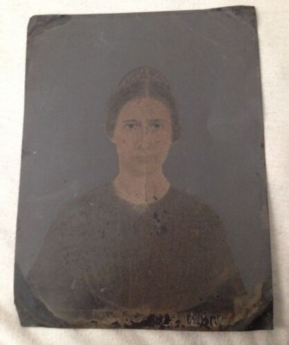 "Antique 1800s Painted Hand Colored Tintype Photo Woman w/Mantilla 6 1/2""x 8 1/2"""