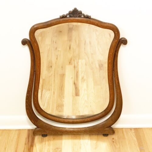 Antique Tiger Oak Beveled Mirror circa 1900