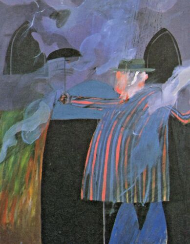 "DAVID HOCKNEY BOOK PRINT ""MAN IN FRONT OF HIS HOUSE WITH RAIN DESCENDING"""