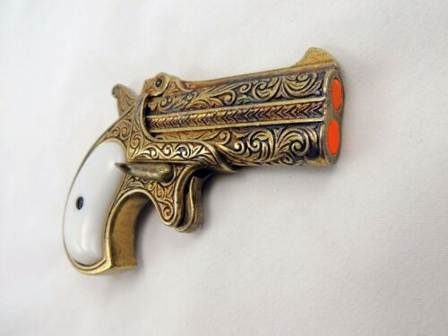 Old West Replica 1866 Brass Finish Double Barrel Derringer Non-Firing GunReproductions - 156384