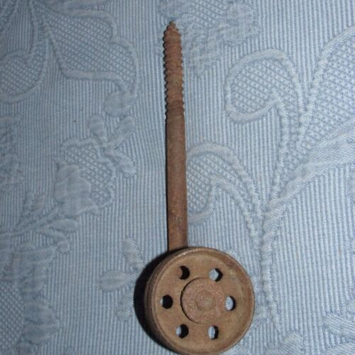 Antique Victorian Cast Iron Furniture Caster 2 1/4 Inch Wheel & Attached Screw
