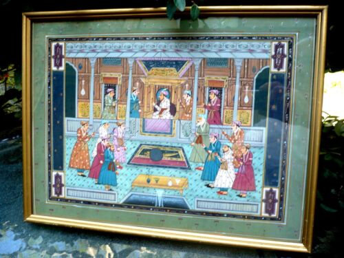 BEAUTIFUL ANTIQUE HINDU OR PERSIAN H/PAINTED ON PAPER PAINTING