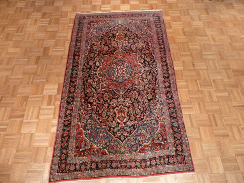 4'3 X 7'10 Hand Knotted Antique Persian Isphahan Oriental Rug G1907