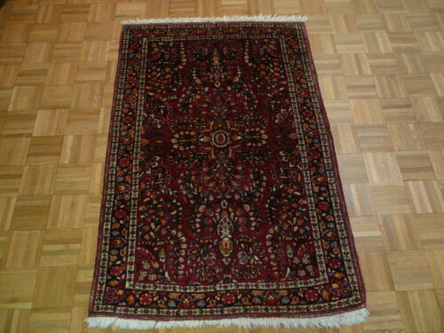 3'5 X 5'2 Hand Knotted Red Antique Persian Sarouk Oriental Rug G1921