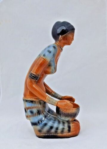 """Large  VTG. Old Porcelain Painted Beautiful Tribal Lady With Basket 14""""h Statue"""