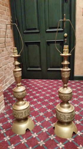 INDIA BRONZE LAMPS HEIGHT 40 INCHES TALL (LOT OF 2)