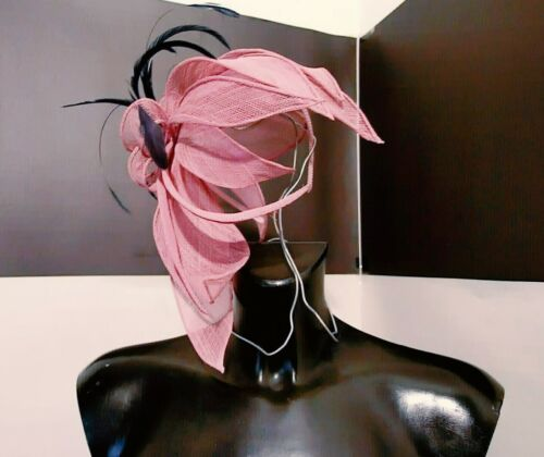 ANNUCCIA pure uk VINTAGE fascinator pink straw cloves and capon feathers passed
